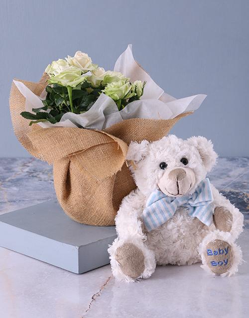 teddy-bears: Its a Boy Teddy and White Rose Bush!