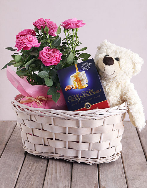 colour: Roses and Cuddles Gift Basket!