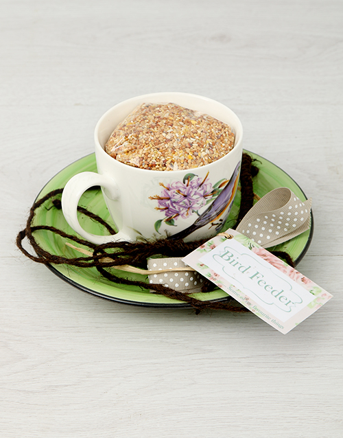 grandparents-day: Purple Floral Teacup Bird Feeder!
