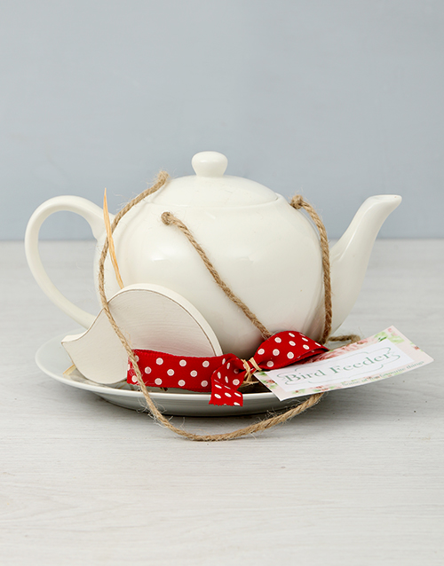 prices: White Teapot Bird Feeder!