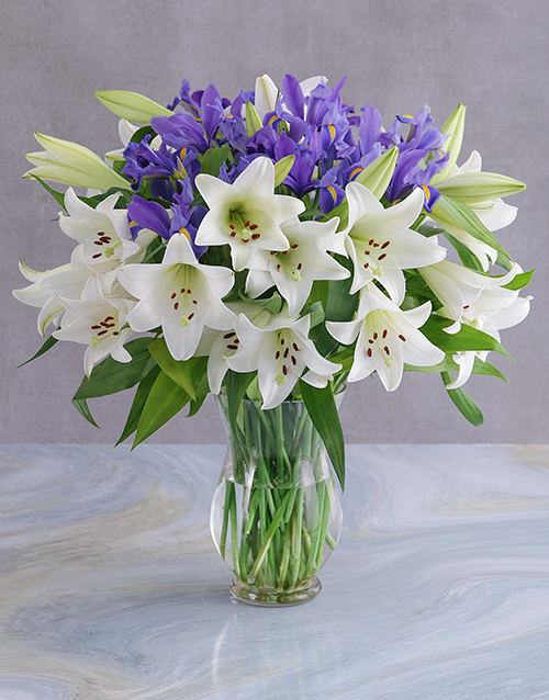 easter: Irises and Lilies Vase!
