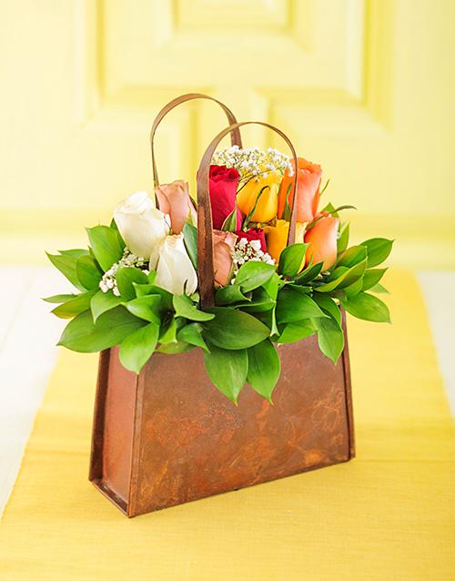 basket: Handbag of Mixed Roses!