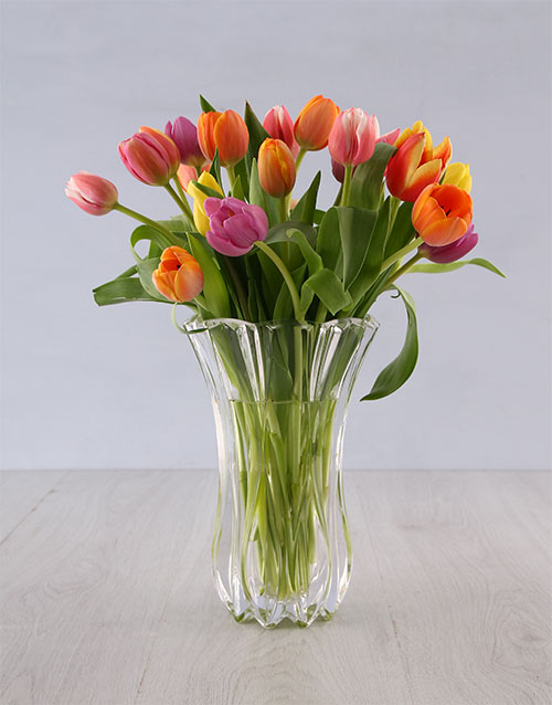 anniversary: Tulips in a Elixer Crystal Vase!