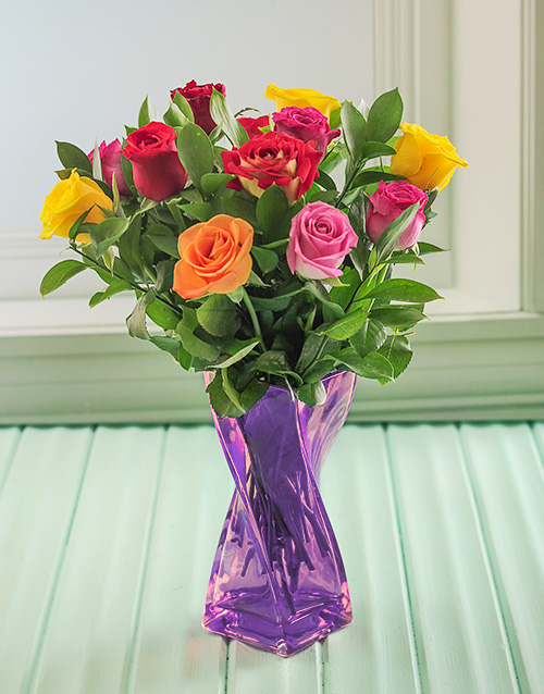 coloured-vases: Mixed Roses in a Purple Twisted Vase!