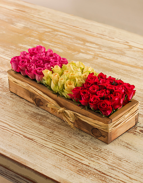 wooden-crates: Grouping Pink, Red & White Roses in a Crate!