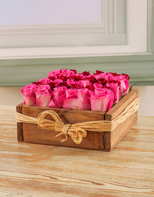 roses: Pink & Red Roses in a Wooden Box!