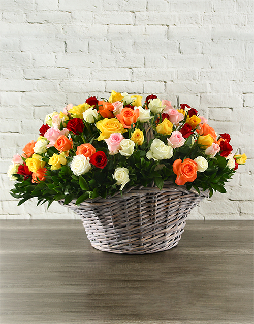 basket: 100 Mixed Roses In a Basket!
