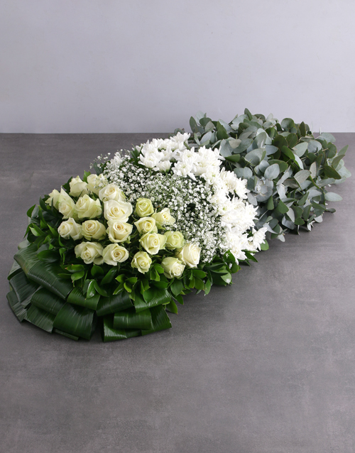 colour: Green and White Funeral Coffin Display!