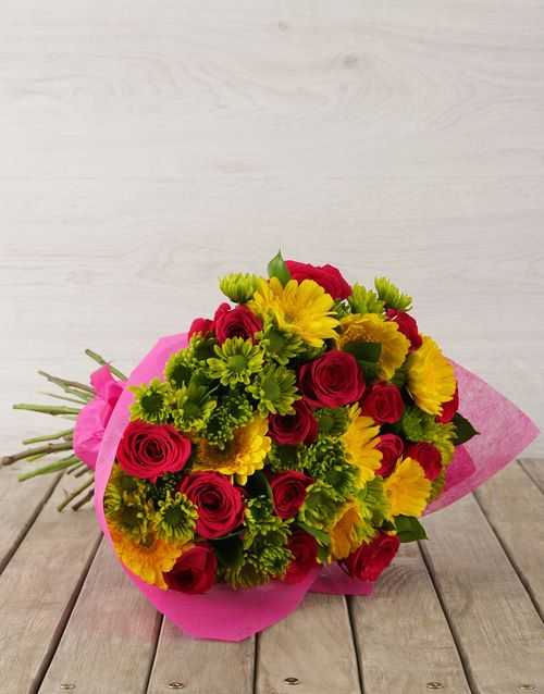 spring-day: Mixed Pink & Yellow Flower Bouquet!