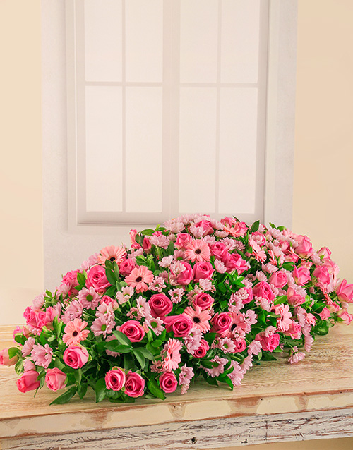colour: Pink Roses, Sprays and Gerberas Coffin Display!