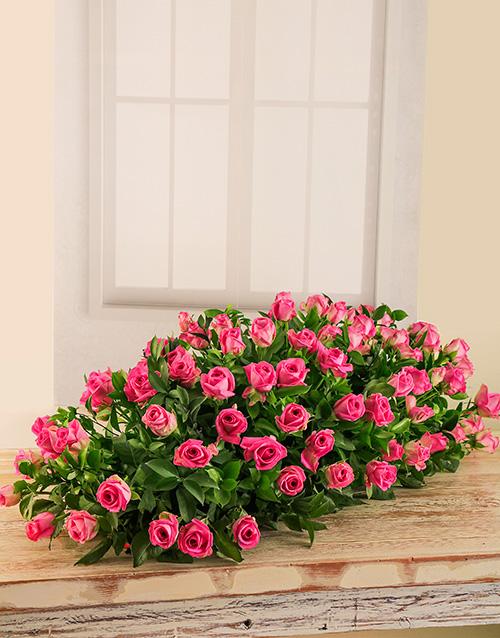 sympathy: Pink Rose Coffin Display!