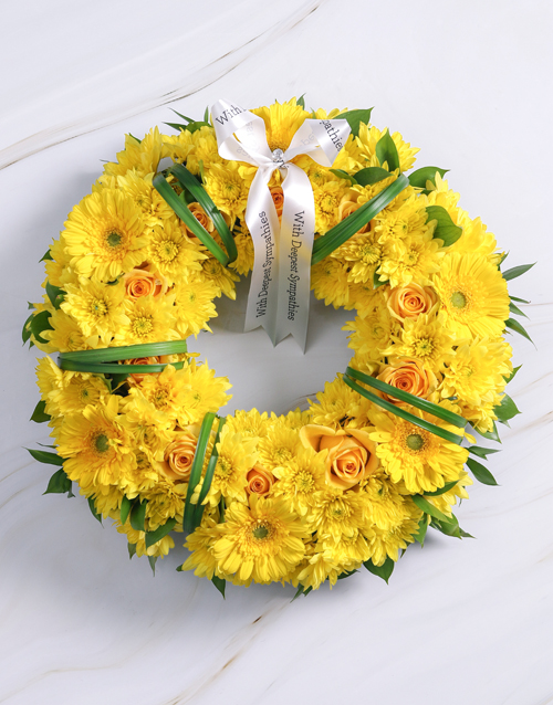sympathy: Blooming Yellow Roses, Gerberas and Sprays Wreath!