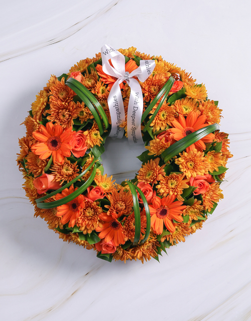 sympathy: Orange Roses and Gerberas Wreath!