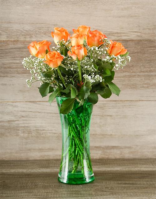 coloured-vases: Orange Rose and Gyp in Green Vase!