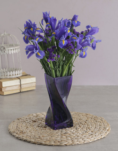 anniversary: Blue Irises in a Purple Twisted Vase!