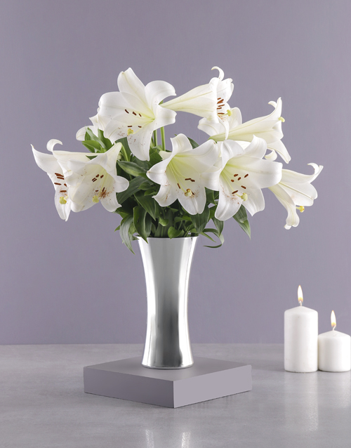 lilies: St Joseph Lilies in Silver Vase!