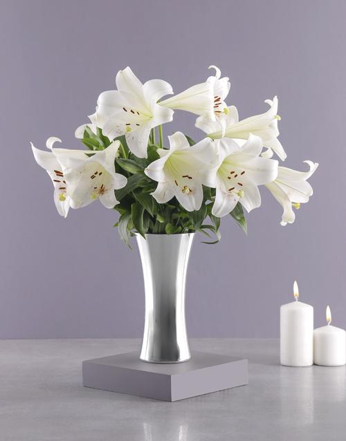 sympathy: St Joseph Lilies in Silver Vase!