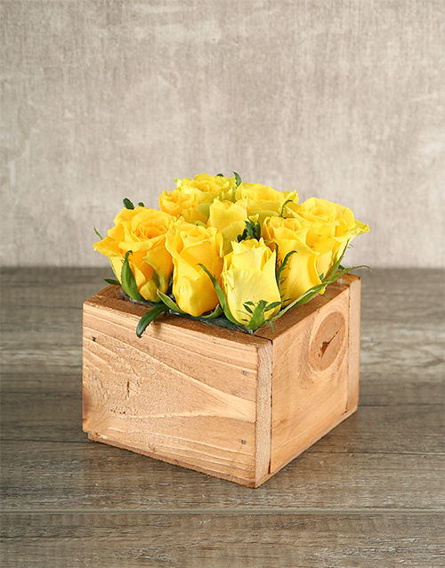 wooden-crates: 9 Yellow Roses in Wooden Box!