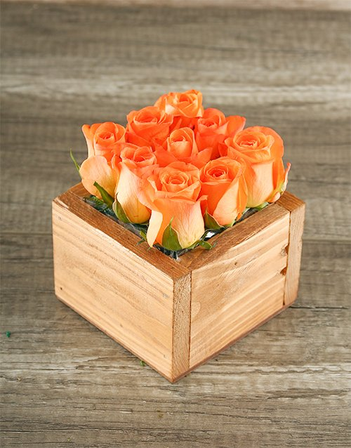 wooden-crates: Orange Roses in Wooden Box!