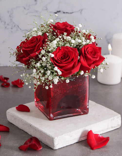 colour: Red Roses and Million Star in Vase!