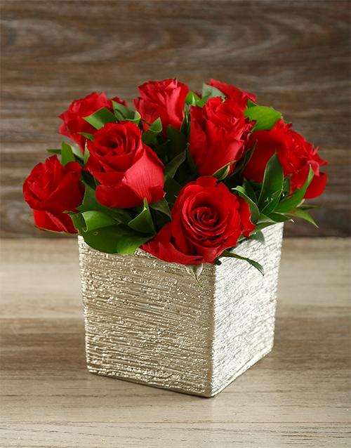colour: Red Roses in Silver Ceramic Vase!