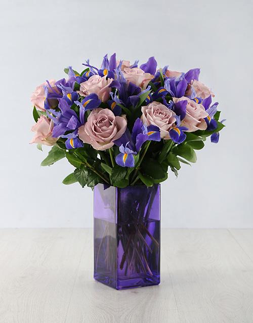 flowers: Iris Masterpiece in Purple Vase!