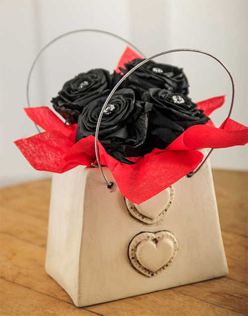 pottery: House of Poppy Black Magic Rose Purse!