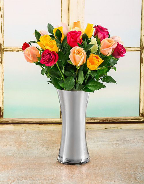 coloured-vases: Kaleidoscope Rose Arrangement!