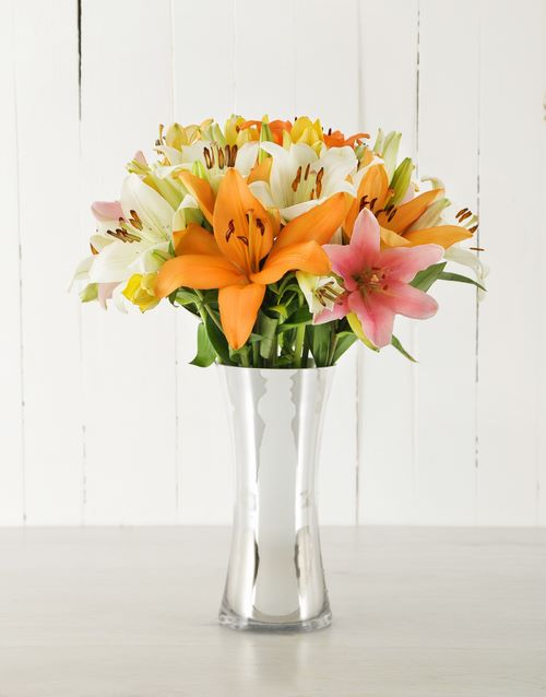 lilies: Mixed Asiflorum Lilies in Silver Vase!