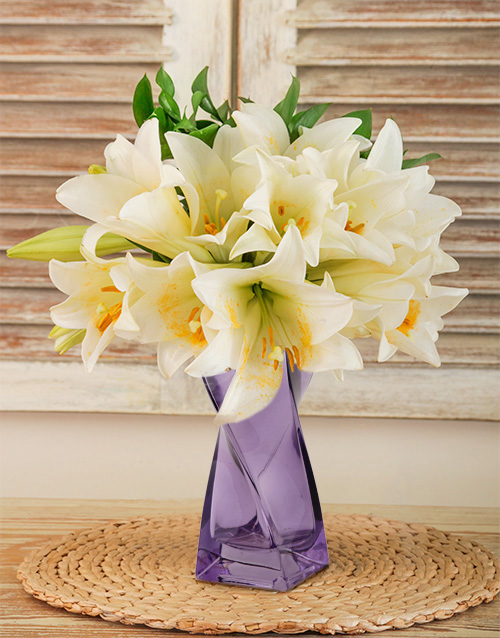 coloured-vases: St Joseph Lilies in a Purple Vase!