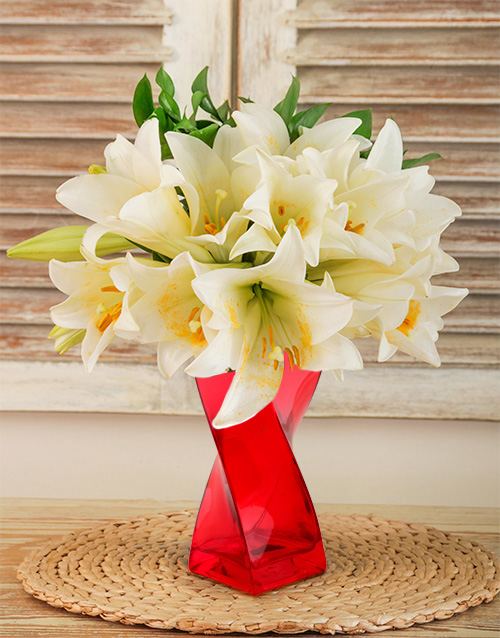 colour: St Joseph Lilies in a Red Twisty Vase!