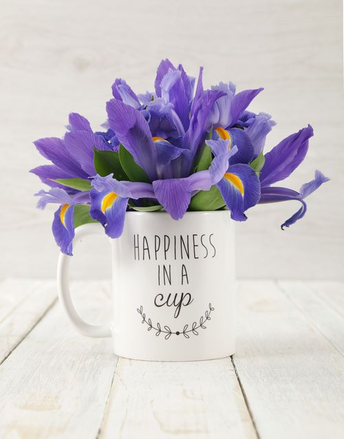 mugs: Happiness in a Cup of Iris Arrangement!