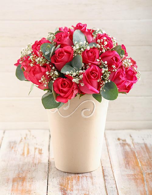 designer: Charming Cerise Roses in Pottery Vase!