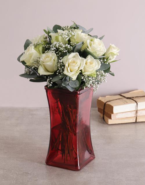 coloured-vases: White Whispers Rose Vase!