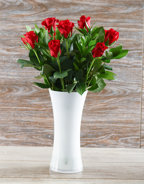 roses: Red Roses in a White Flair Vase!