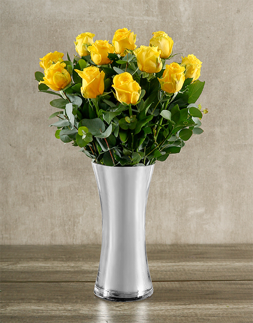 coloured-vases: Yellow Roses in Classy Silver Vase!