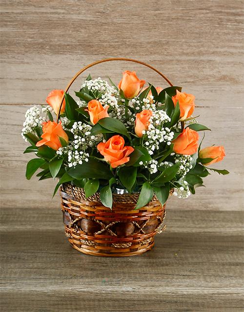 basket: Orange Roses in Brown Basket!
