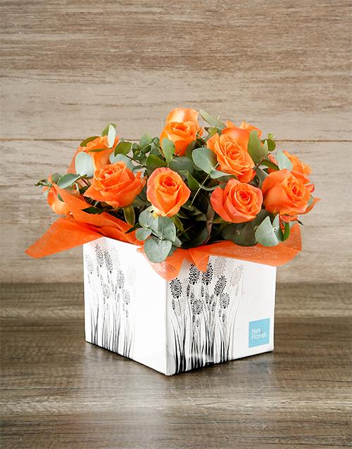 colour: Orange Roses in Occasion Box!