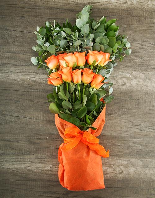 mixed-bouquets: Mystical Orange Rose Bouquet!