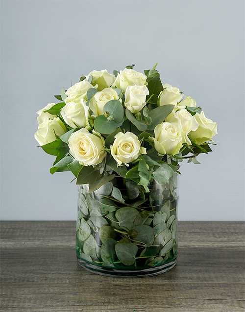 White Roses In A Round Vase Flowers Netflorist