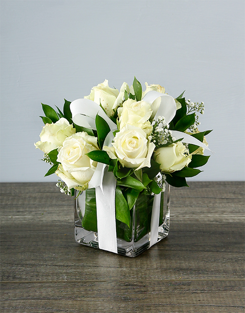 vase: Small White Rose Surprise!