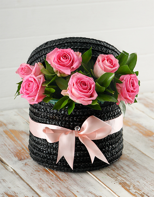 colour: Pink Roses in a Hat Box!