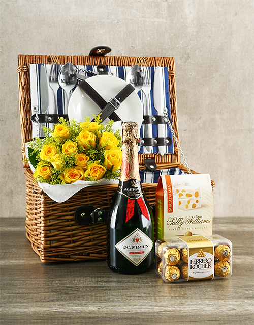 gourmet: Delicious Picnic Basket with Yellow Roses!