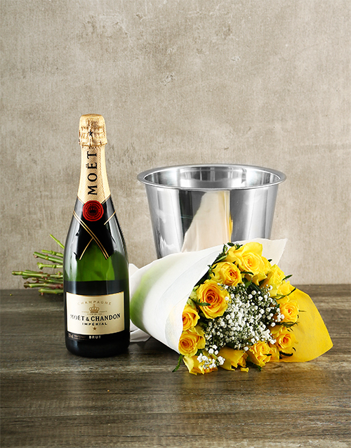 colour: Yellow Roses with Moet & Chandon!