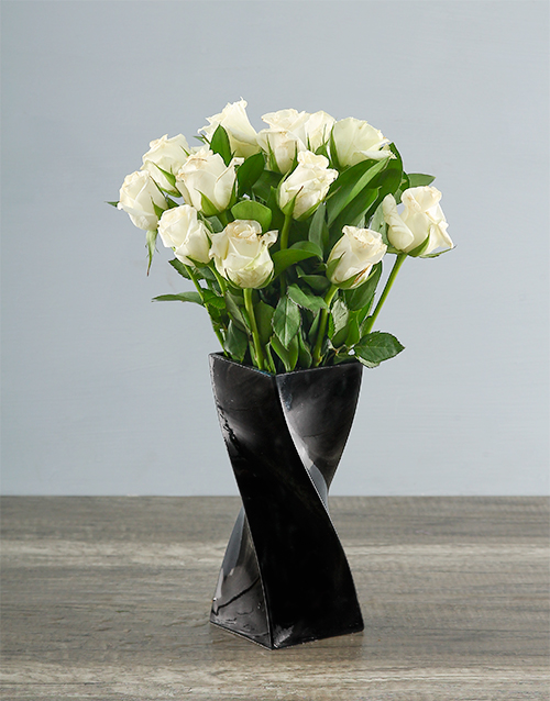 colour: White Roses in a Black Twisty Vase!