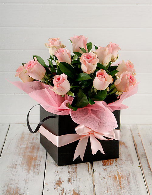 birthday: Pink Roses in a Black Box!