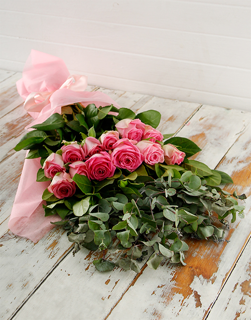 bouquets: Pink Roses, Ruscus and Greens in Pink Craft Paper!