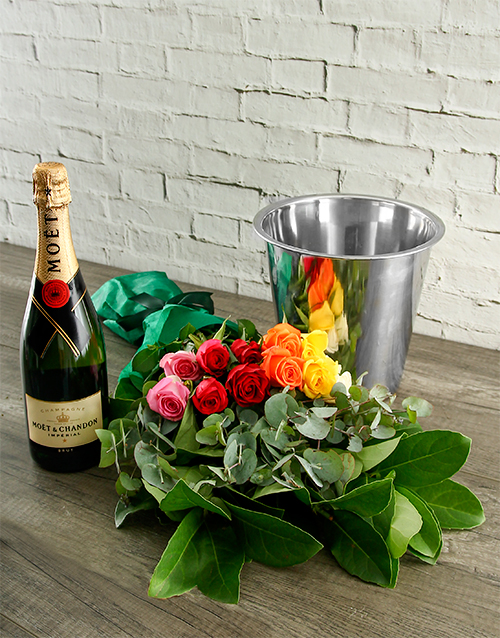 mixed-bouquets: Mixed Roses, Moet and ice Bucket!