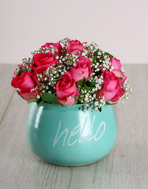 grandparents-day: Cerise Roses in Turquoise Ceramic Pot!