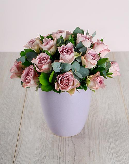 roses: Ceramic Pot of Lilac Roses!